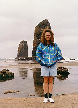 Lynn in front of the Needles